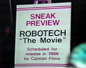 Poster for a sneak preview of the film at a Robotech promotional event circa 1985